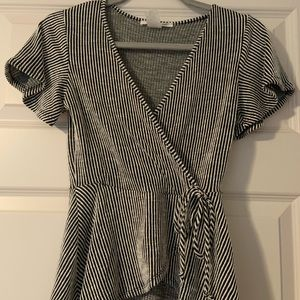 Caution to the Wind black and white striped top. S